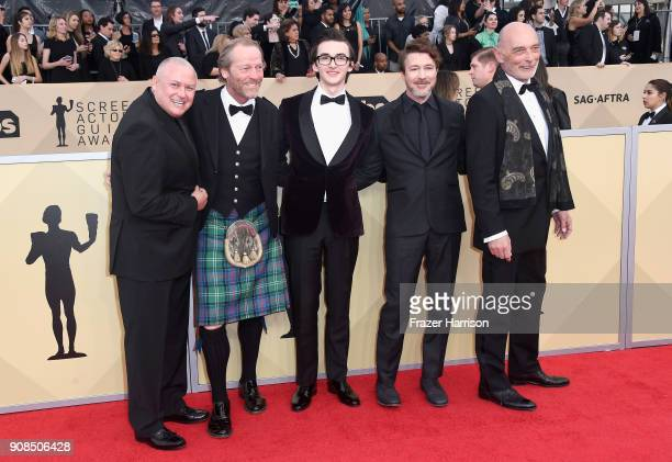 Actors Conleth Hill Iain Glen Isaac Hempstead Wright Aidan Gillen and James Faulkner attend the 24th Annual Screen ActorsGuild Awards at The Shrine...