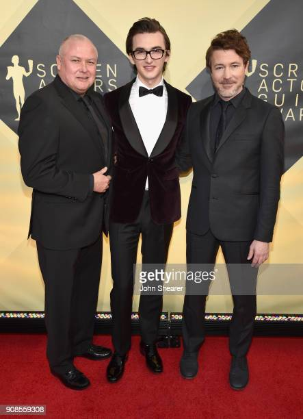 Actors Conleth Hill Isaac Hempstead Wright and Aidan Gillen attend the 24th Annual Screen Actors Guild Awards at The Shrine Auditorium on January 21...