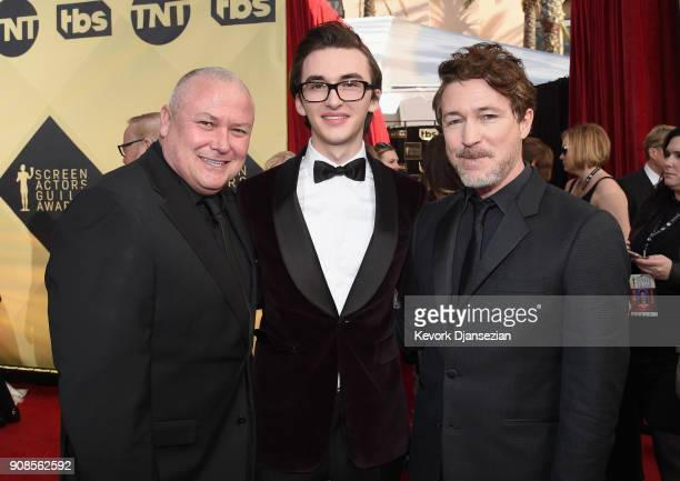 Actors Conleth Hill Isaac Hempstead Wright and Aiden Gillen attend the 24th Annual Screen ActorsGuild Awards at The Shrine Auditorium on January 21...