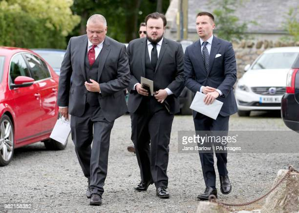 Actors Conleth Hill John Bradley and Joe Dempsie arrive at Rayne Church Kirkton of Rayne in Aberdeenshire for the wedding ceremony of Game Of Thrones...