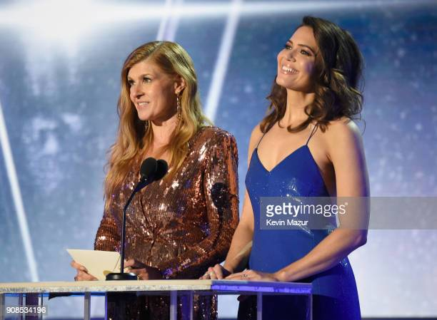 Actors Connie Britton and Mandy Moore speak onstage during the 24th Annual Screen Actors Guild Awards at The Shrine Auditorium on January 21 2018 in...