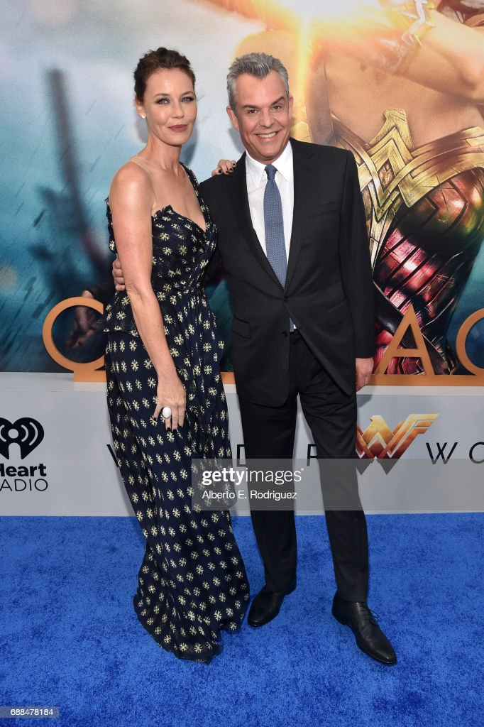 Actors Connie Nielsen and Danny Huston attend the premiere of Warner Bros. Pictures' 'Wonder Woman' at the Pantages Theatre on May 25, 2017 in Hollywood, California.