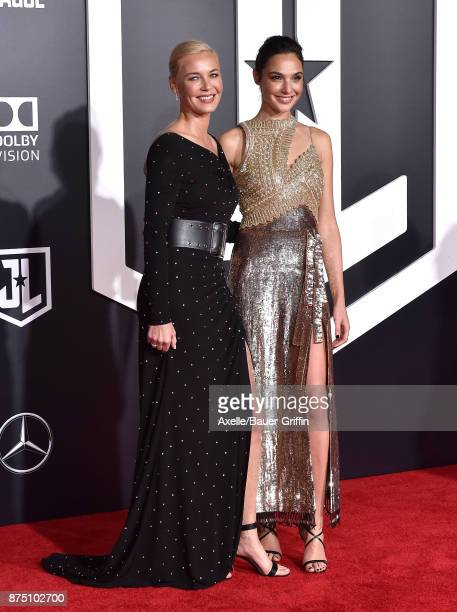 Actors Connie Nielsen and Gal Gadot arrive at the premiere of Warner Bros. Pictures' 'Justice League' at Dolby Theatre on November 13, 2017 in...