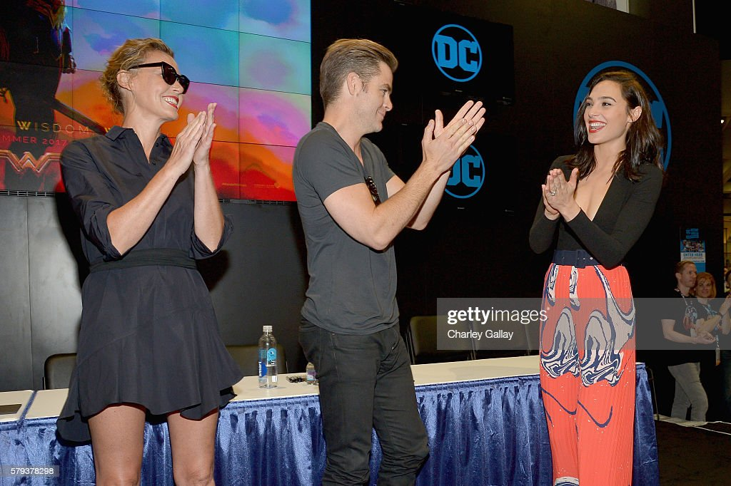 Actors Connie Nielsen, Chris Pine and Gal Gadot from the 2017 feature film Wonder Woman attend an autograph signing session for fans in DC's 2016 San Diego Comic-Con booth at San Diego Convention Center on July 23, 2016 in San Diego, California.