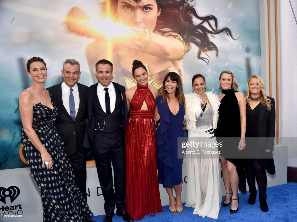 Actors Connie Nielsen, Danny Huston, Chris Pine, Gal Gadot, director Patty Jenkins, actors Elena Anaya, Robin Wright and Lucy Davis attend the premiere of Warner Bros. Pictures' 'Wonder Woman' at the Pantages Theatre on May 25, 2017 in Hollywood, California.