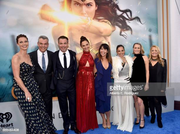 Actors Connie Nielsen Danny Huston Chris Pine Gal Gadot director Patty Jenkins actors Elena Anaya Robin Wright and Lucy Davis attend the premiere of...