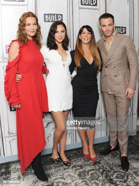 Actors Connie Nielsen Gal Gadot director Patty Jenkins and actor Chris Pine attend Build The Cast of 'Wonder Woman' at Build Studio on May 23 2017 in...
