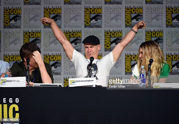 Actors Connor Jessup Colin Cunningham and Sarah Carter speak onstage at the Falling Skies The Farewell panel during ComicCon International 2015 at...