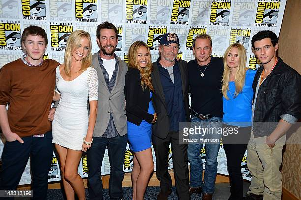 Actors Connor Jessup Jessy Schram Noah Wyle Moon Bloodgood Will Patton Colin Cunningham Sarah Carter and Drew Roy attend 'Falling Skies' during...