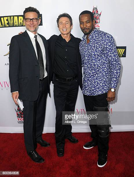 Actors Connor Trineer Dominic Keating and Anthony Montgomery arrive for the Premiere Of 'UNBELIEVABLE' held at TCL Chinese 6 Theatres on September 7...