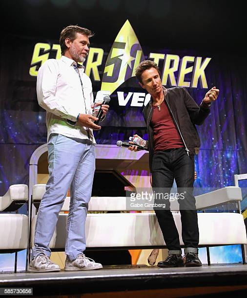 Actors Connor Trinneer watches Dominic Keating dance during the A Look at Enterprise panel at the 15th annual official Star Trek convention at the...