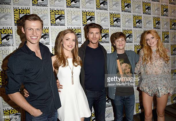 Actors Connor Weil Willa Fitzgerald Amadeus Serafini John Karna and Bella Thorne attend the 'Scream' press room during ComicCon International 2015 at...