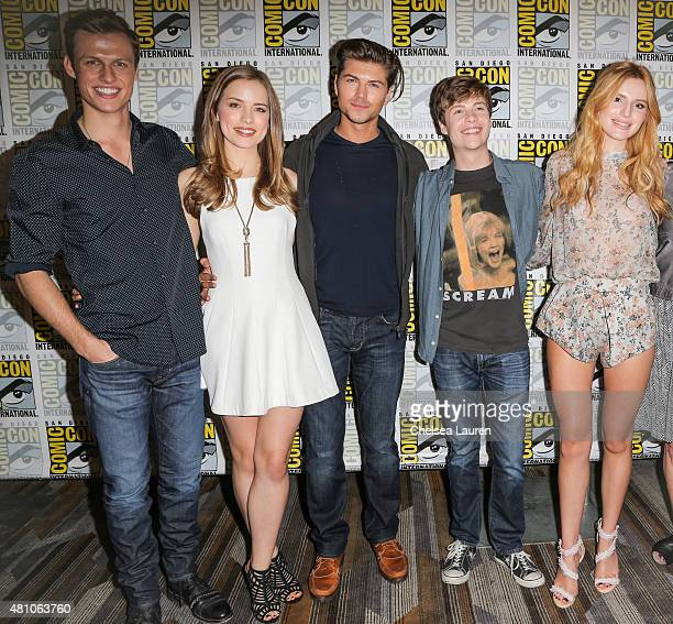 Actors Connor Weil Willa Fitzgerald Amadeus Serafini John Karna and Bella Thorne attend the 'Scream' press room during day 2 of ComicCon...