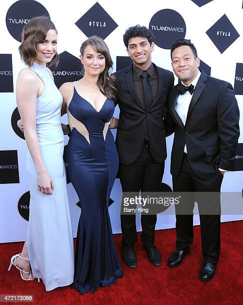 Actors Conor Leslie Milana Vayntrub Karan Soni and Eugene Cordero attend the 2015 TV LAND Awards at Saban Theatre on April 11 2015 in Beverly Hills...