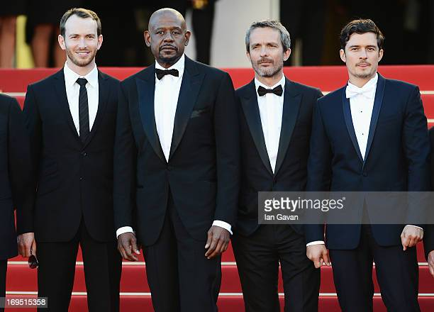 Actors Conrad Kemp and Forest Whitaker director Jerome Salle and actor Orlando Bloom attend the 'Zulu' Premiere and Closing Ceremony during the 66th...