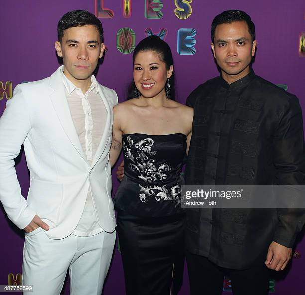 Actors Conrad Ricamora Ruthie Ann Miles and Jose Llana attend Here Lies Love after party at Gallow Green at the McKittrick Hotel on May 1 2014 in New...