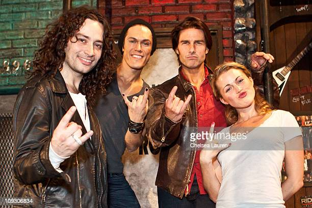 Actors Constantine Maroulis MiG Ayesa Tom Cruise and Rebecca Faulkenberry pose onstage for Rock of Ages at the Pantages Theatre on February 19 2011...
