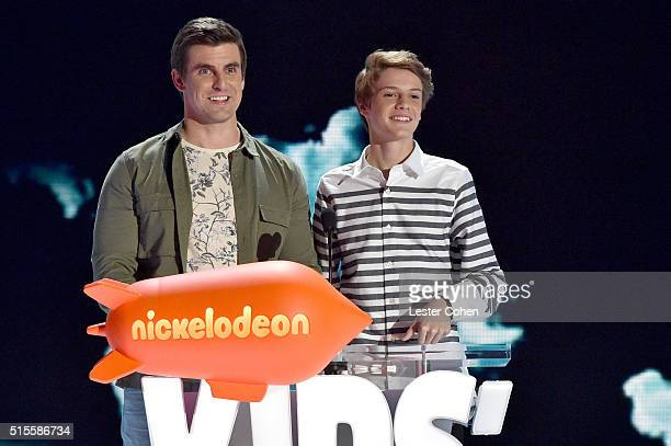 Actors Cooper Barnes and Jace Norman onstage during the 2016 KCA International/Regional Awards at The Forum on March 10 2016 in Inglewood California