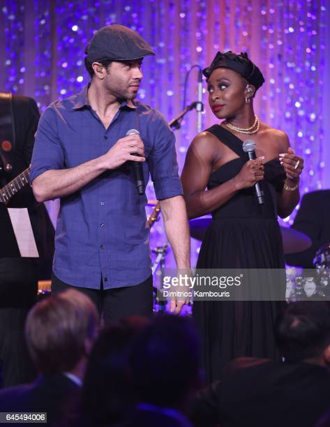 Actors Corbin Bleu and Cynthia Erivo attend The Weinstein Company's PreOscar Dinner in partnership with Bvlgari and Grey Goose at Montage Beverly...