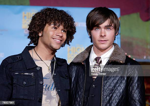 Actors Corbin Bleu and Zac Efron arrive at the DVD premiere of Disney's High School Musical 2 held at the El Capitan Theatre on November 19 2007 in...