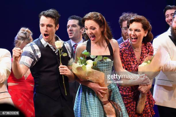 "Actors Corey Cott, Laura Osnes and Beth Leavel during the ""Bandstand"" Broadway Opening Night Curtain Call at The Bernard B. Jacobs Theatre on April..."