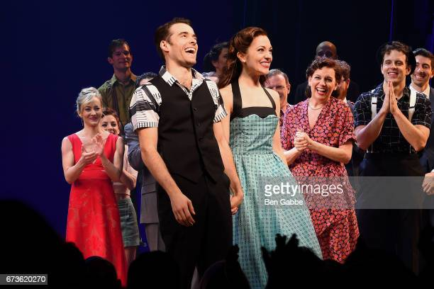 "Actors Corey Cott Laura Osnes during the ""Bandstand"" Broadway Opening Night Curtain Call at The Bernard B. Jacobs Theatre on April 26, 2017 in New..."