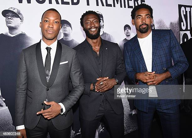 Actors Corey Hawkins Aldis Hodge and Marlon Yates Jr attend the Universal Pictures and Legendary Pictures' premiere of Straight Outta Compton at...