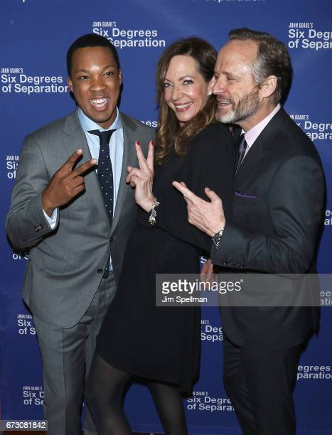 Actors Corey Hawkins Allison Janney and John Benjamin Hickey attend the Six Degrees of Separation Broadway opening night after party at Brasserie 8...
