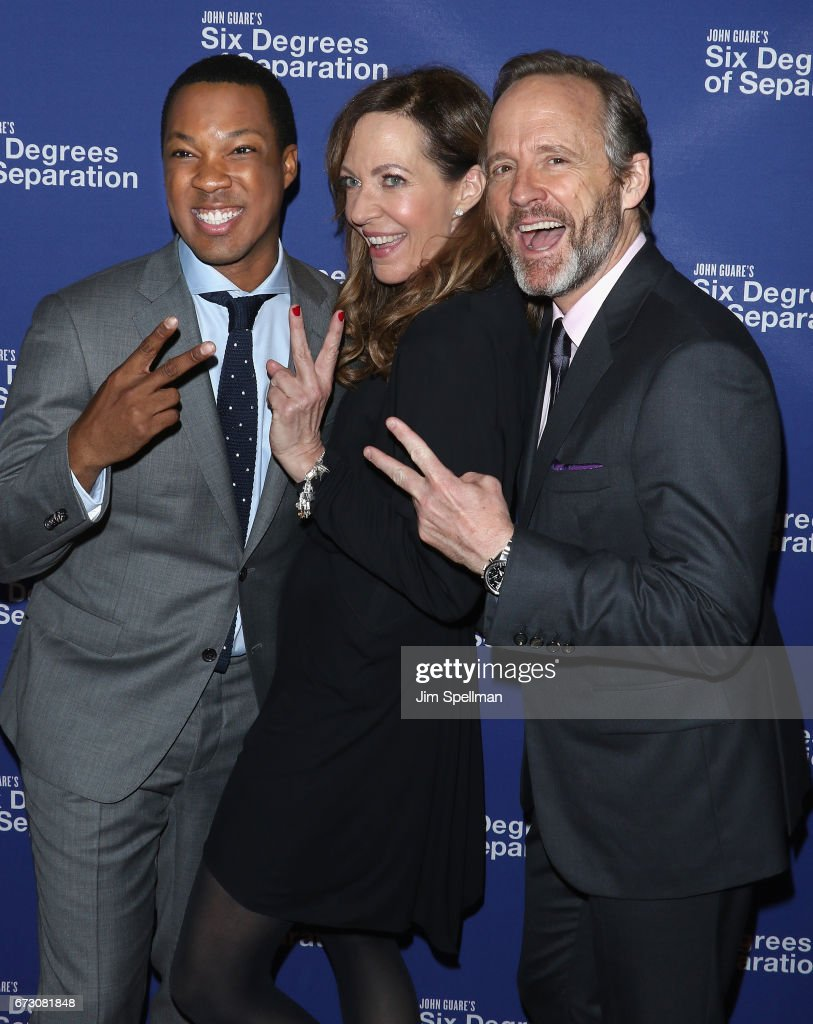 Actors Corey Hawkins, Allison Janney and John Benjamin Hickey attend the 'Six Degrees of Separation' Broadway opening night after party at Brasserie 8 1/2 on April 25, 2017 in New York City.