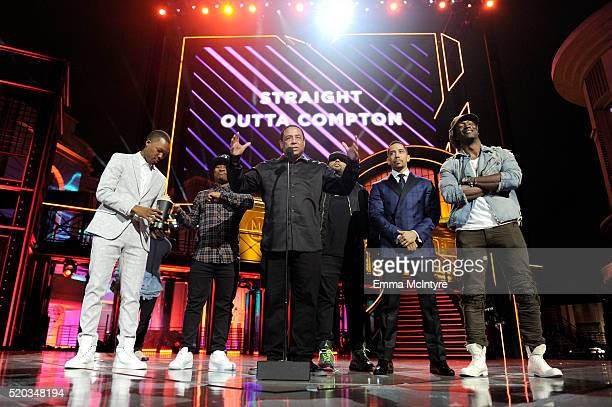 Actors Corey Hawkins and Jason Mitchell DJ Yella of NWA actors O'Shea Jackson Jr Neil Brown Jr and Aldis Hodge accept the True Story award for...