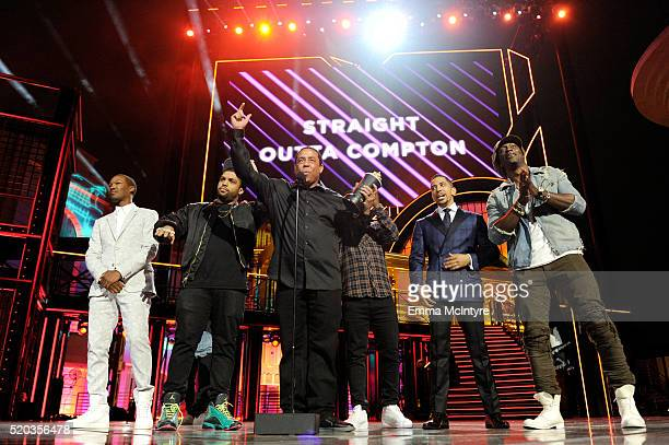 Actors Corey Hawkins and O'Shea Jackson Jr DJ Yella of NWA actors Jason Mitchell Neil Brown Jr and Aldis Hodge accept the True Story award for...
