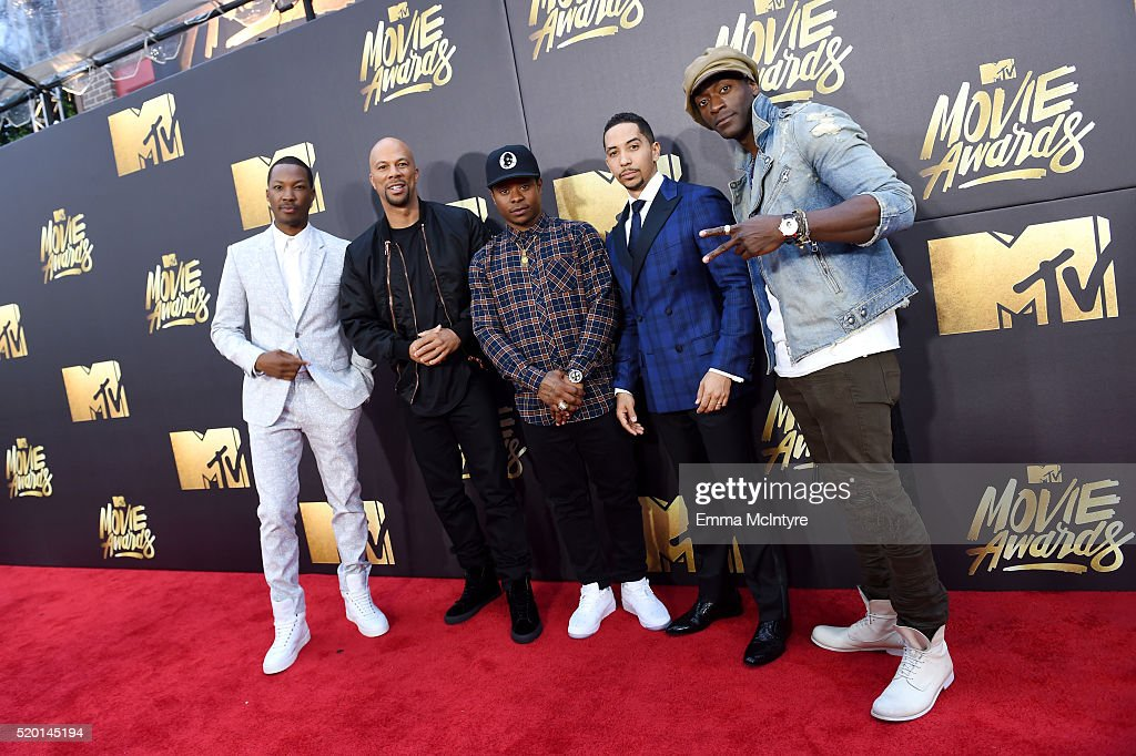 Actors (L-R) Corey Hawkins, Common, Jason Mitchell, Neil Brown Jr., and Alidis Hodge attend the 2016 MTV Movie Awards at Warner Bros. Studios on April 9, 2016 in Burbank, California. MTV Movie Awards airs April 10, 2016 at 8pm ET/PT.