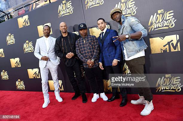 Actors Corey Hawkins Common Jason Mitchell Neil Brown Jr and Alidis Hodge attend the 2016 MTV Movie Awards at Warner Bros Studios on April 9 2016 in...
