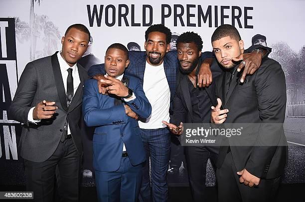 Actors Corey Hawkins Jason Mitchell Marlon Yates Jr Aldis Hodge and O'Shea Jackson Jr attend the Universal Pictures and Legendary Pictures' premiere...