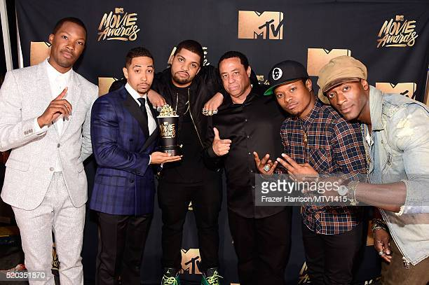 Actors Corey Hawkins Neil Brown Jr and O'Shea Jackson Jr DJ Yella of NWA actors Jason Mitchell and Aldis Hodge winners of the True Story award for...