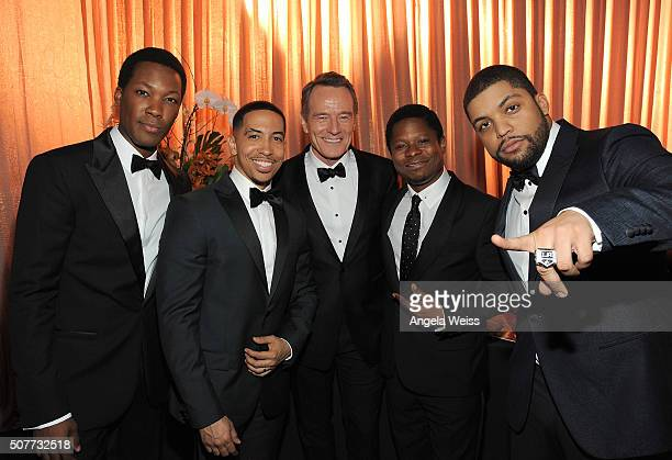 Actors Corey Hawkins Neil Brown Jr Bryan Carnston Jason Mitchell and O'Shea Jackson Jr attends the 22nd Annual Screen Actors Guild Awards at The...