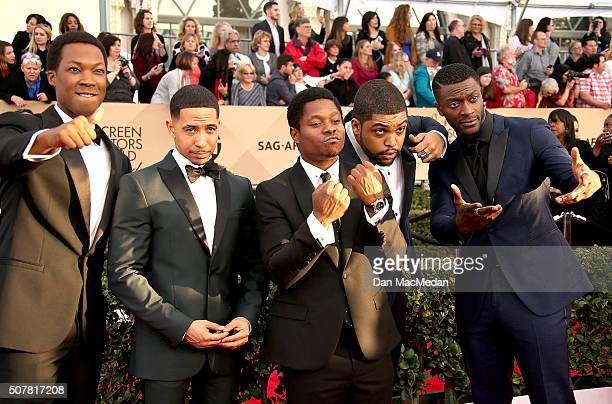 Actors Corey Hawkins Neil Brown Jr Jason Mitchell O'Shea Jackson and Aldis Hodge attend the 22nd Annual Screen Actors Guild Awards at The Shrine...