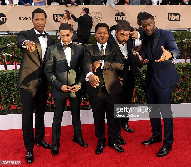Actors Corey Hawkins Neil Brown Jr Jason Mitchell O'Shea Jackson Jr and Aldis Hodge arrive at the 22nd Annual Screen Actors Guild Awards at The...