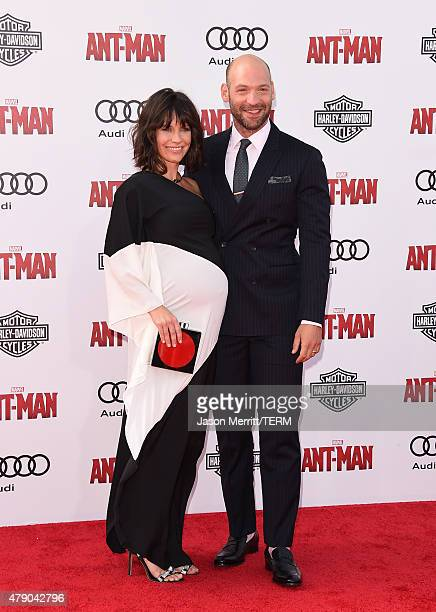 Actors Corey Stoll and Evangeline Lilly arrive at the Los Angeles Premiere of Marvel Studios 'AntMan' at Dolby Theatre on June 29 2015 in Hollywood...