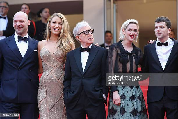 Actors Corey Stoll Blake Lively director Woody Allen actress Kristen Stewart and actor Jesse Eisenberg attend the 'Cafe Society' premiere and the...