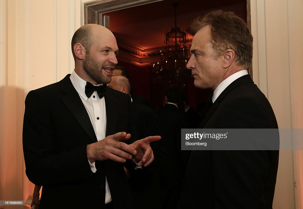 Actors Corey Stoll, left, and Bradley Whitford attend the Bloomberg Vanity Fair White House Correspondents' Association (WHCA) dinner afterparty in Washington, D.C., U.S., on Saturday, April 27, 2013. The 99th annual dinner raises money for WHCA scholarships and honors the recipients of the organization's journalism awards. Photographer: Scott Eells/Bloomberg via Getty Images