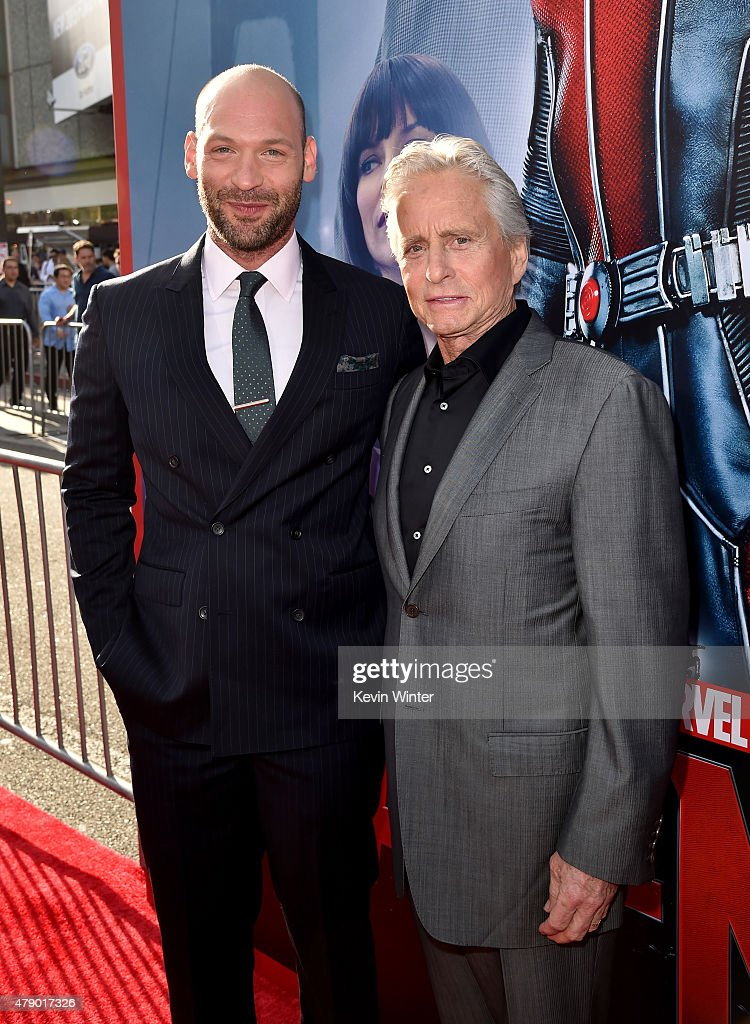 Actors Corey Stoll (L) Michael Douglas attend the premiere of Marvel's 'Ant-Man' at the Dolby Theatre on June 29, 2015 in Hollywood, California.