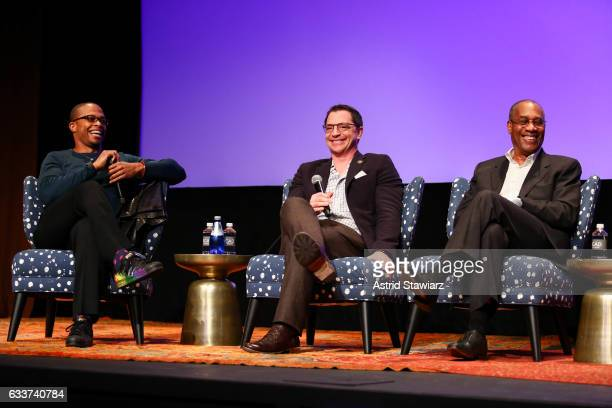 Actors Cornelius Smith Jr Joshua Malina and Joe Morton speak at a QA for 'Scandal' during Day Two of the aTVfest 2017 presented by SCAD at SCADshow...