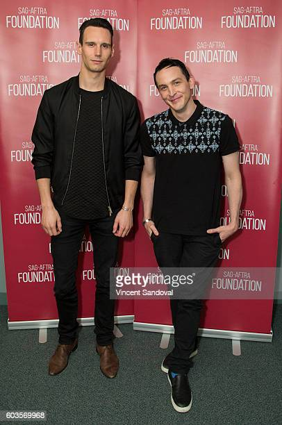"""Actors Cory Michael Smith and Robin Lord Taylor attend SAG-AFTRA Foundation Conversations for """"Gotham"""" at SAG-AFTRA Foundation on September 12, 2016..."""