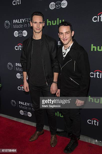 """Actors Cory Michael Smith and Robin Lord Taylor attend the PaleyFest New York 2016 """"Gotham"""" panel at The Paley Center for Media on October 19, 2016..."""