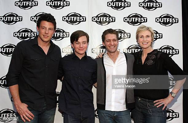 Actors Cory Monteih Chris Colfer Matthew Morrison and Jane Lynch arrive at the 27th Annual Los Angeles Gay And Lesbian Film Festival's screening of...