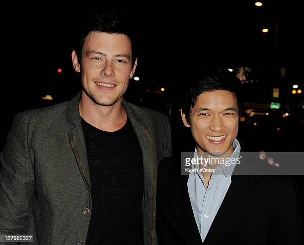 """Actors Cory Monteith and Harry Shum, Jr. Arrive at the premiere of FX Network's """"American Horror Story"""" at the Cinerama Dome on October 3, 2011 in..."""