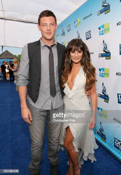 Actors Cory Monteith and Lea Michele arrive at the 2012 Do Something Awards at Barker Hangar on August 19 2012 in Santa Monica California