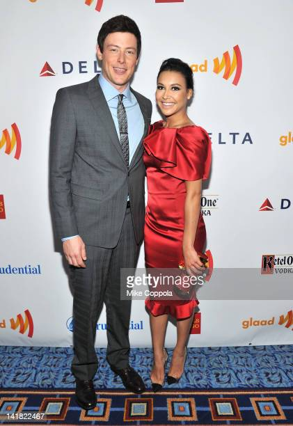 Actors Cory Monteith and Naya Rivera attend the 23rd Annual GLAAD Media Awards presented by Ketel One and Wells Fargo at Marriott Marquis Theater on...