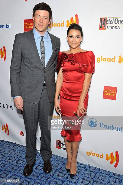 Actors Cory Monteith and Naya Rivera attend the 23rd Annual GLAAD Media Awards at the Marriott Marquis Hotel on March 24 2012 in New York City